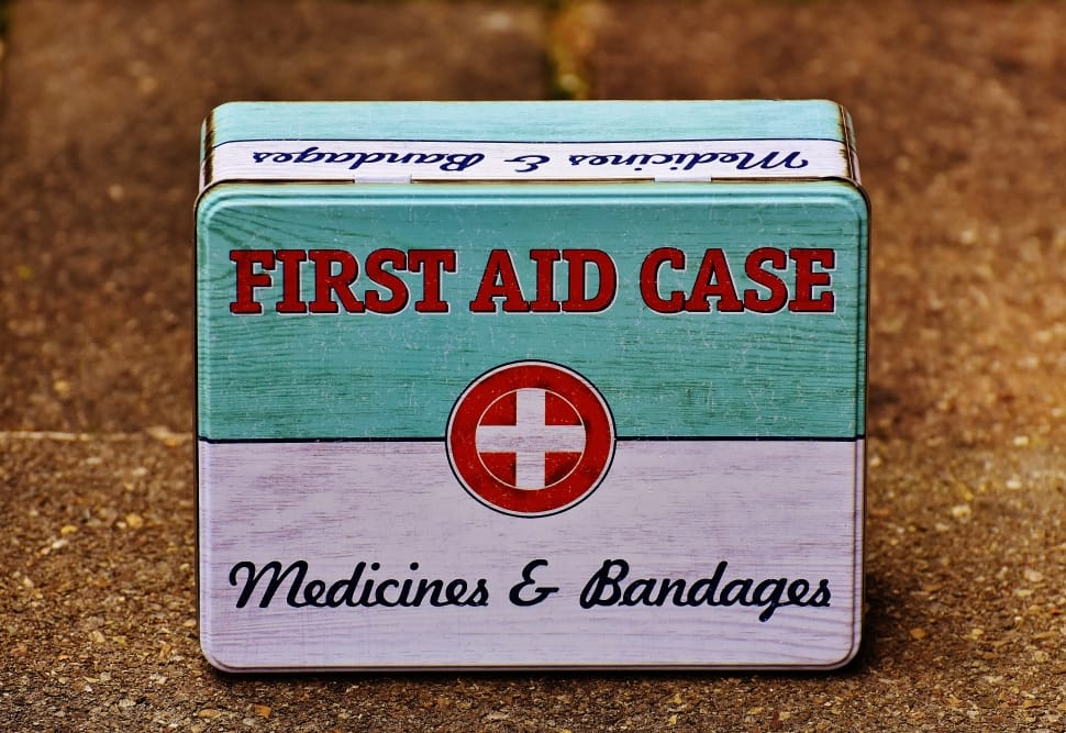 First Aid Box and Bandages
